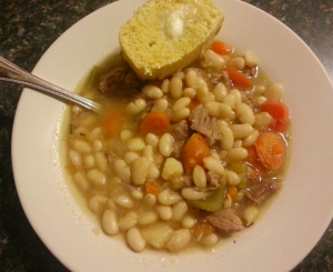 White bean soup with gluten-free cornbread. Snow day deliciousness.